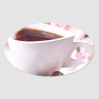 Valentine' S Day: Coffee & Chocolate Seventeen Oval Sticker