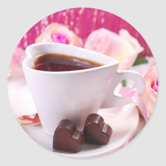 Valentine' S Day: Coffee & Chocolate Seventeen Round Sticker
