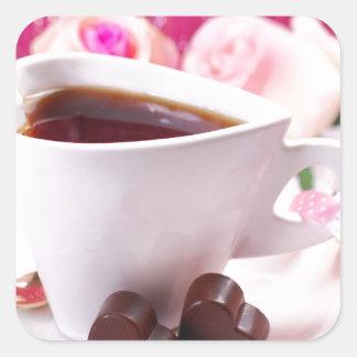 Valentine' S Day: Coffee & Chocolate Seventeen Square Sticker
