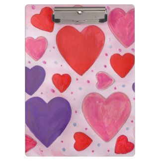 Valentine's Day Hearts in Pink, Purple & Red Clipboard