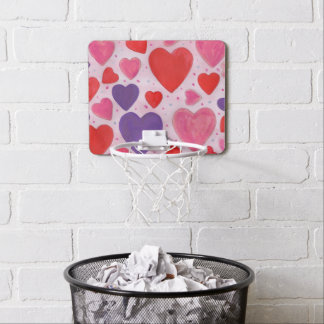 Valentine's Day Hearts in Pink, Purple & Red Mini Basketball Hoop
