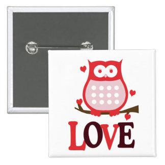 Valentine s Day LOVE Owl Button