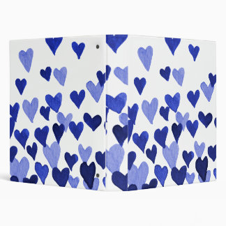 Valentine's Day Watercolor Hearts – blue Binder