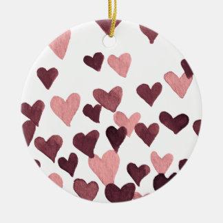 Valentine's Day Watercolor Hearts – dark pink Ceramic Ornament