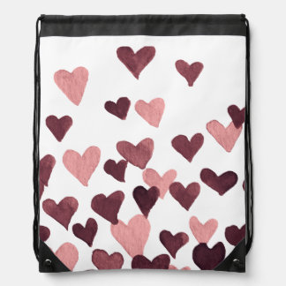 Valentine's Day Watercolor Hearts – dark pink Drawstring Bag
