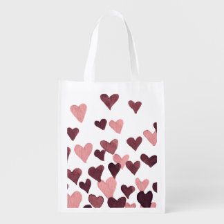 Valentine's Day Watercolor Hearts – dark pink Reusable Grocery Bag
