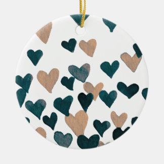 Valentine's Day Watercolor Hearts – neutral Ceramic Ornament