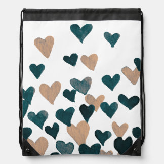 Valentine's Day Watercolor Hearts – neutral Drawstring Bag
