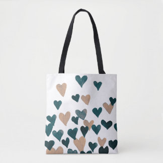 Valentine's Day Watercolor Hearts – neutral Tote Bag