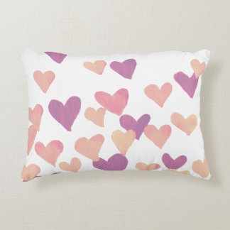 Valentine's Day Watercolor Hearts – pastel pink Accent Pillow