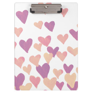 Valentine's Day Watercolor Hearts – pastel pink Clipboard
