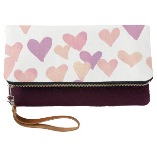 Valentine's Day Watercolor Hearts – pastel pink Clutch