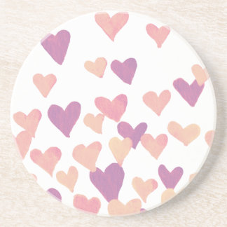 Valentine's Day Watercolor Hearts – pastel pink Coaster