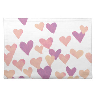 Valentine's Day Watercolor Hearts – pastel pink Placemat