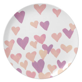 Valentine's Day Watercolor Hearts – pastel pink Plate