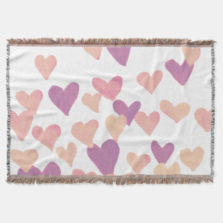 Valentine's Day Watercolor Hearts – pastel pink Throw Blanket