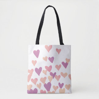 Valentine's Day Watercolor Hearts – pastel pink Tote Bag