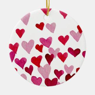 Valentine's Day Watercolor Hearts – pink Ceramic Ornament