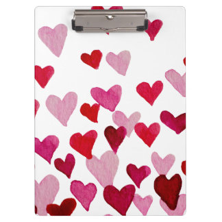 Valentine's Day Watercolor Hearts – pink Clipboard