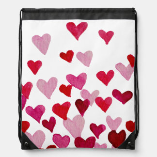 Valentine's Day Watercolor Hearts – pink Drawstring Bag