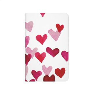Valentine's Day Watercolor Hearts – pink Journal
