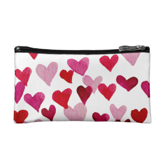 Valentine's Day Watercolor Hearts – pink Makeup Bag