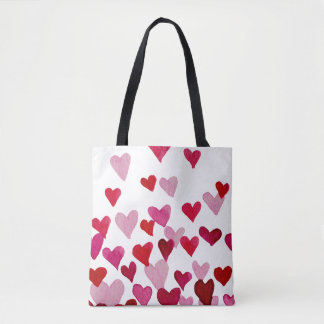 Valentine's Day Watercolor Hearts – pink Tote Bag