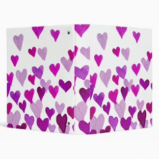 Valentine's Day Watercolor Hearts – purple 3 Ring Binders