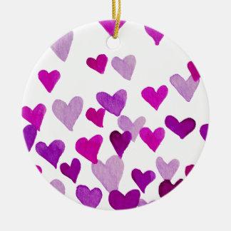 Valentine's Day Watercolor Hearts – purple Ceramic Ornament