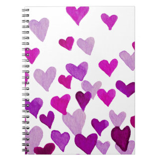 Valentine's Day Watercolor Hearts – purple Notebook