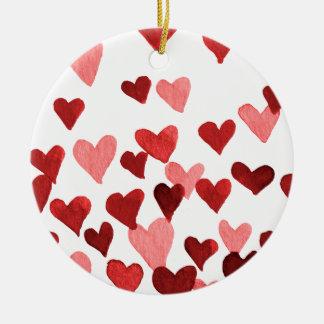 Valentine's Day Watercolor Hearts – red Ceramic Ornament
