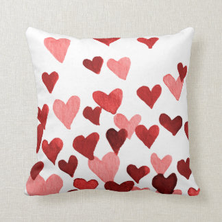 Valentine's Day Watercolor Hearts – red Throw Pillow