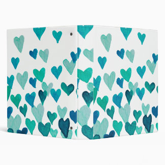 Valentine's Day Watercolor Hearts – turquoise Binders
