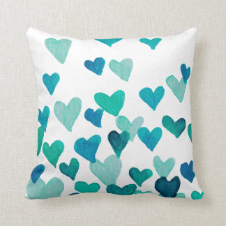 Valentine's Day Watercolor Hearts – turquoise Throw Pillow