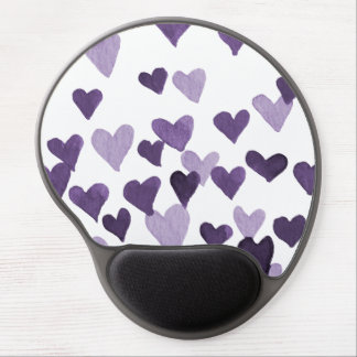 Valentine's Day Watercolor Hearts – ultra violet Gel Mouse Pad