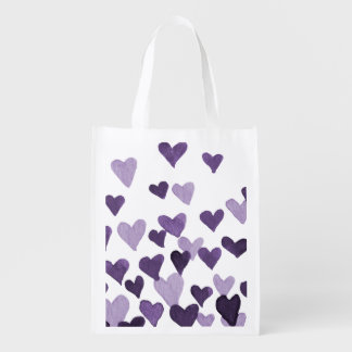 Valentine's Day Watercolor Hearts – ultra violet Reusable Grocery Bag