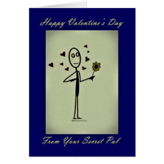 Valentine Secret Pal Stick Person Greeting Cards
