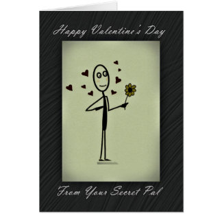 Valentine Secret Pal Stick Person Greeting Card