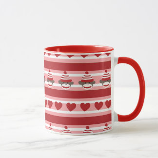 Valentine Sock Monkey Stripes Mug