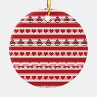 Valentine Sock Monkey Stripes Round Ceramic Ornament