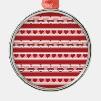 Valentine Sock Monkey Stripes Silver-Colored Round Ornament