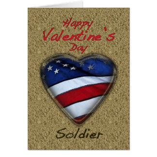 Valentine Soldier Sand Patriotic Card