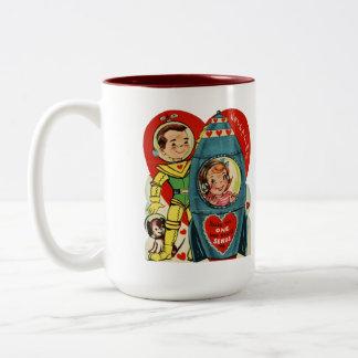 Valentine Spaceman & Rocket Girl Adorable Retro Two-Tone Coffee Mug