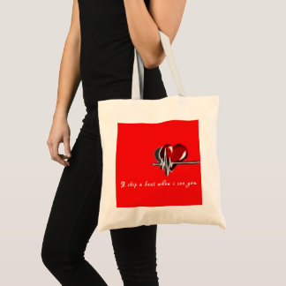 "Valentine Special ""i skip a beat when i see you"" Tote Bag"