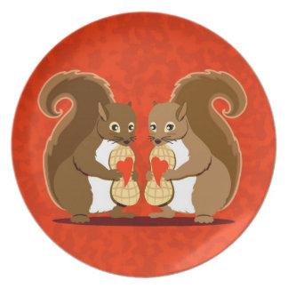 Valentine squirrels plate