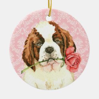 Valentine St Bernard rose Ornement Rond En Céramique