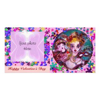 VALENTINE VENETIAN MASQUERADE MASKS AND CONFETTI PHOTO CARD TEMPLATE