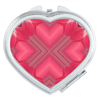Valentine Vibrant Pink Hearts Mirror For Makeup