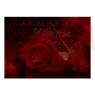 Valentine Vintage Rose Secret Pal Greeting Card