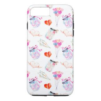 Valentine watercolor icons pattern iPhone 8 plus/7 plus case